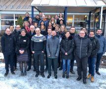 Fortsatt blide prosjektpartnere utenfor Nofimas lokaler på Ås.